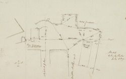 [Drawn plan of junction of Whitehall Place and Middle Scotland Yard]